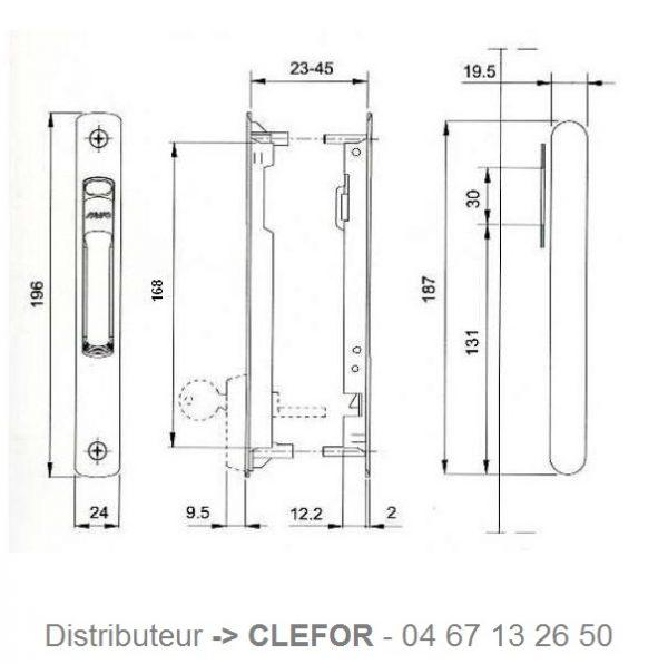 serrure à cylindre pour baie coulissante ferco gu savio kawneer technal profil system