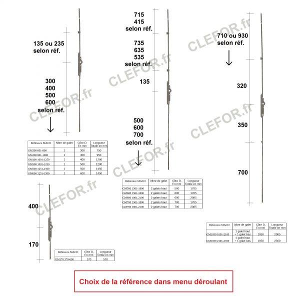 cremone porte fenetre maco gm170 gm300 gm400 gm500 gm600 gm700 gm1050