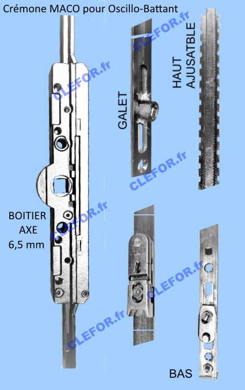 serrure MACO cremone fenetre et porte fenetre axe 6,5 pour oscillo battant Gr.1 Gr.2 Gr.3 Gr.4 Gr.5 Gr.6 Gr.7 Gr.8