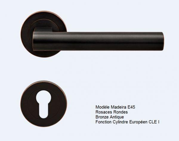 poignee bequille karcher design madeira ER45 bronze antique rosaces rondes CLE I