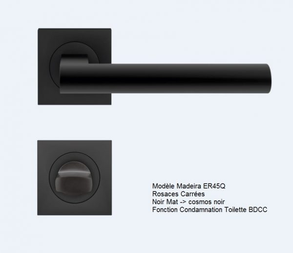 poignee bequille karcher design madeira cosmos noir rosaces carrées BDCC VERSO