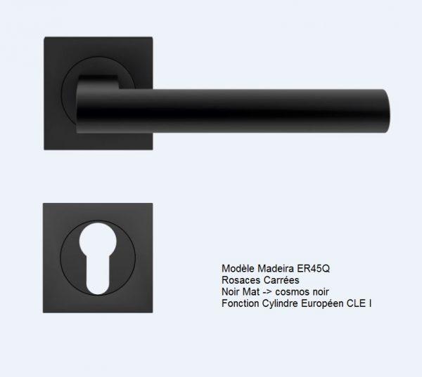 poignee bequille karcher design madeira ER45Q cosmos noir rosaces carrées CLE I