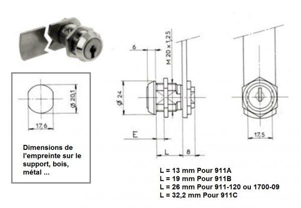 serrure batteuse ronis 911A 911B 911C 911-120 1700-09 dimensions empreinte métal