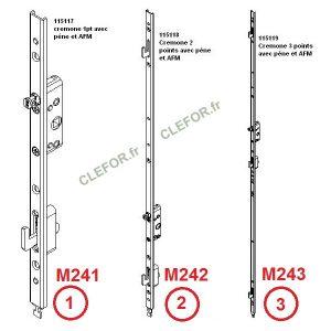 M241 M242 M243 serrure coulissant a 1 2 3 crochets kawneer 115117 115118 115119 tetiere noir u