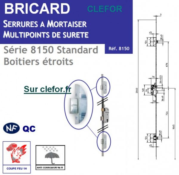 serrure 3 points bricard 8100 8150 standard
