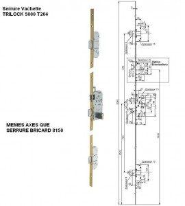 serrure 3 points vachette 5000T204 standard remplace bricard 8150