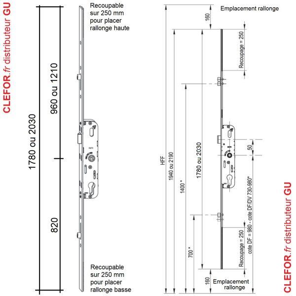 cremone gu ferco porte fenetre ajustable haut et bas avec prolongateur 525 528 635 5-25 5-28 6-35