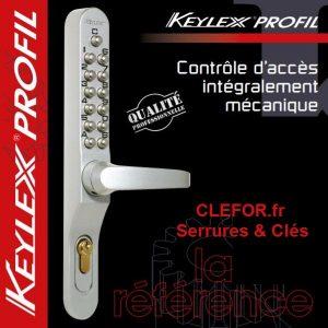 poignee a code mecanique keylex profil lokod 22701 pour porte exterieur passage intense