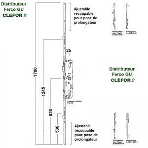 cremone ferco gu tetière cambree axe 28 a 25 ajustable haut et bas G-21266-18-L-1