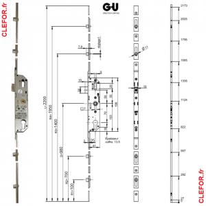 cremone ferrure porte fenetre ferco gu axe 25 tetiere de 16 mm entraxe 70 G-22539-22-L-1 G-22539-22-9