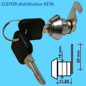 Serrure batteuse Keya diamètre D=16 mm, longueur L=11,90 mm fournie avec came crochet L = 25 mm Serrure Keya pour meubles de bureaux et industriels