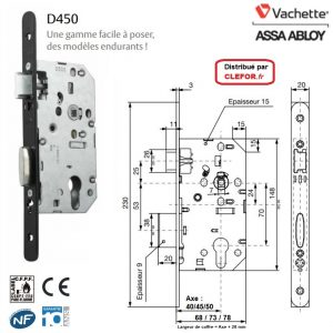 serrure vachette d450 d455 d453 à larder 1 point robuste endurant solide CE CF NF NFQC niveau 3