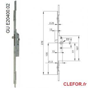 gu e20400 e20400-02 axe 15 boitier ajustable haut et bas gu cremone montpellier