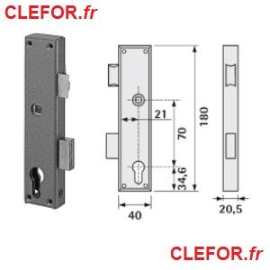 serrure metalux gollot 11-40 serie 11 applique etroite pour menuiserie métallique 11/40