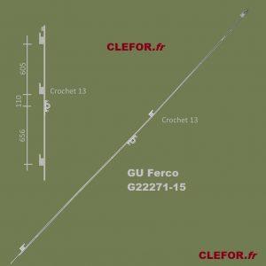GU G22271-15 crémone 3 crochets pour coulissant